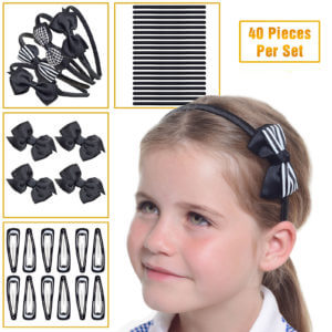 Black school hair accessories, School uniform hair accessories in black