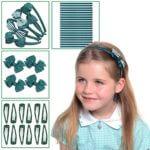 Bumper green hair school accessories set, Green school hair accessories