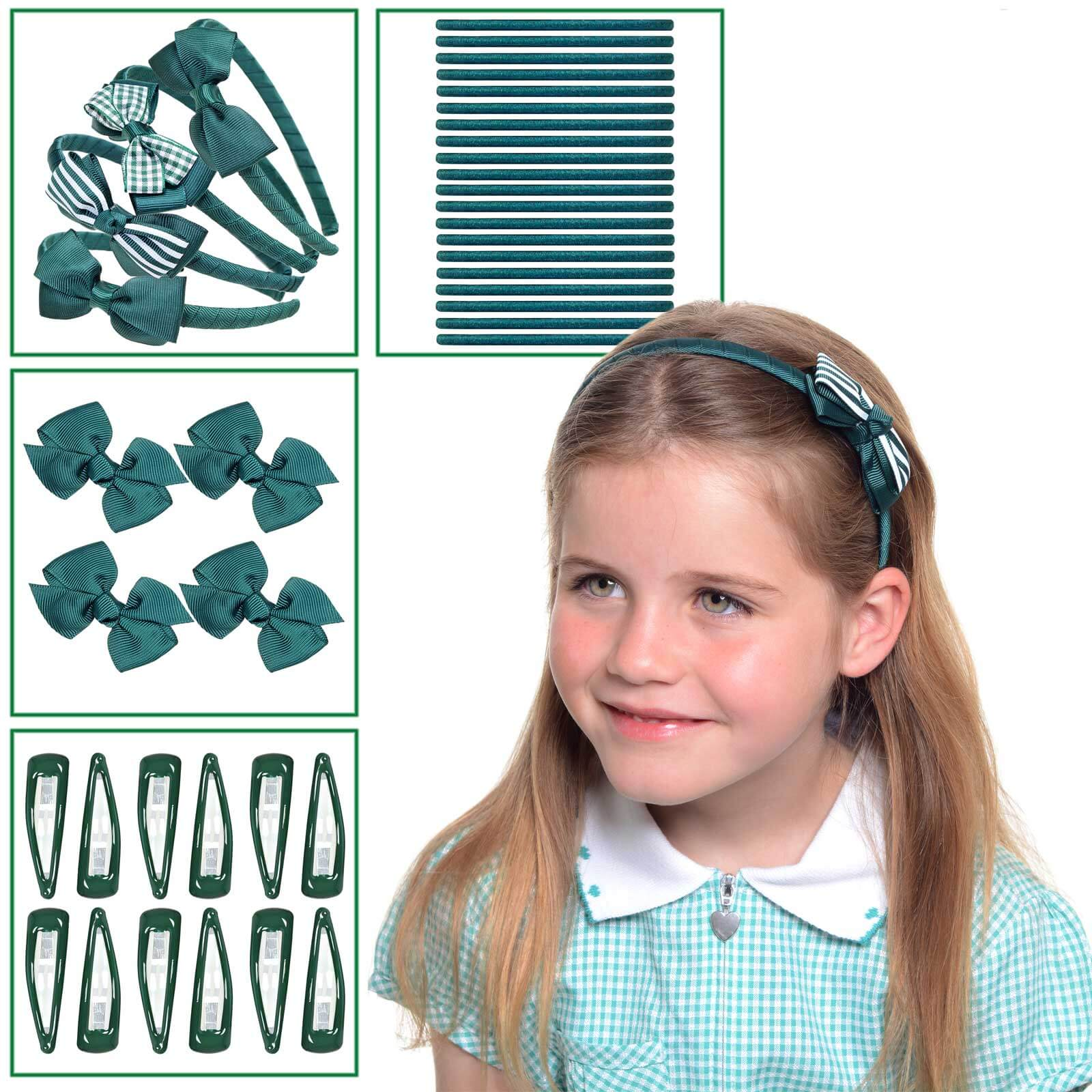 Bumper green hair school accessories set, Green school hair accessories