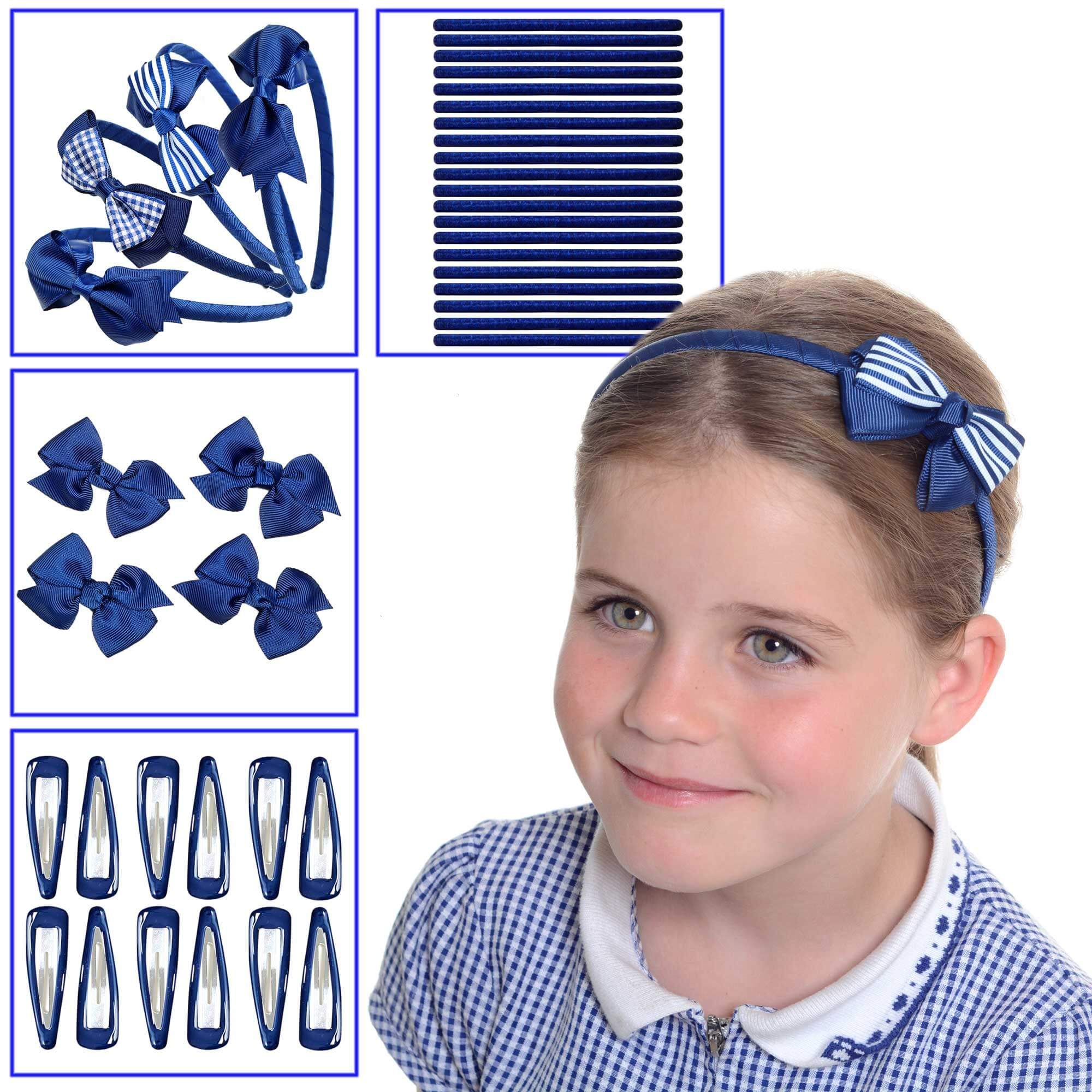 Navy blue school hair accessories, School uniform hair accessories