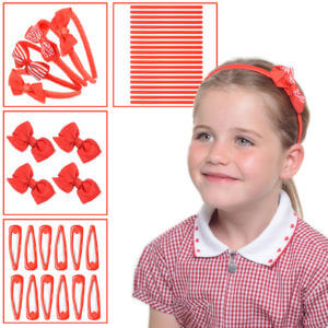 Red school hair accessories, Girls hair accessories set in red