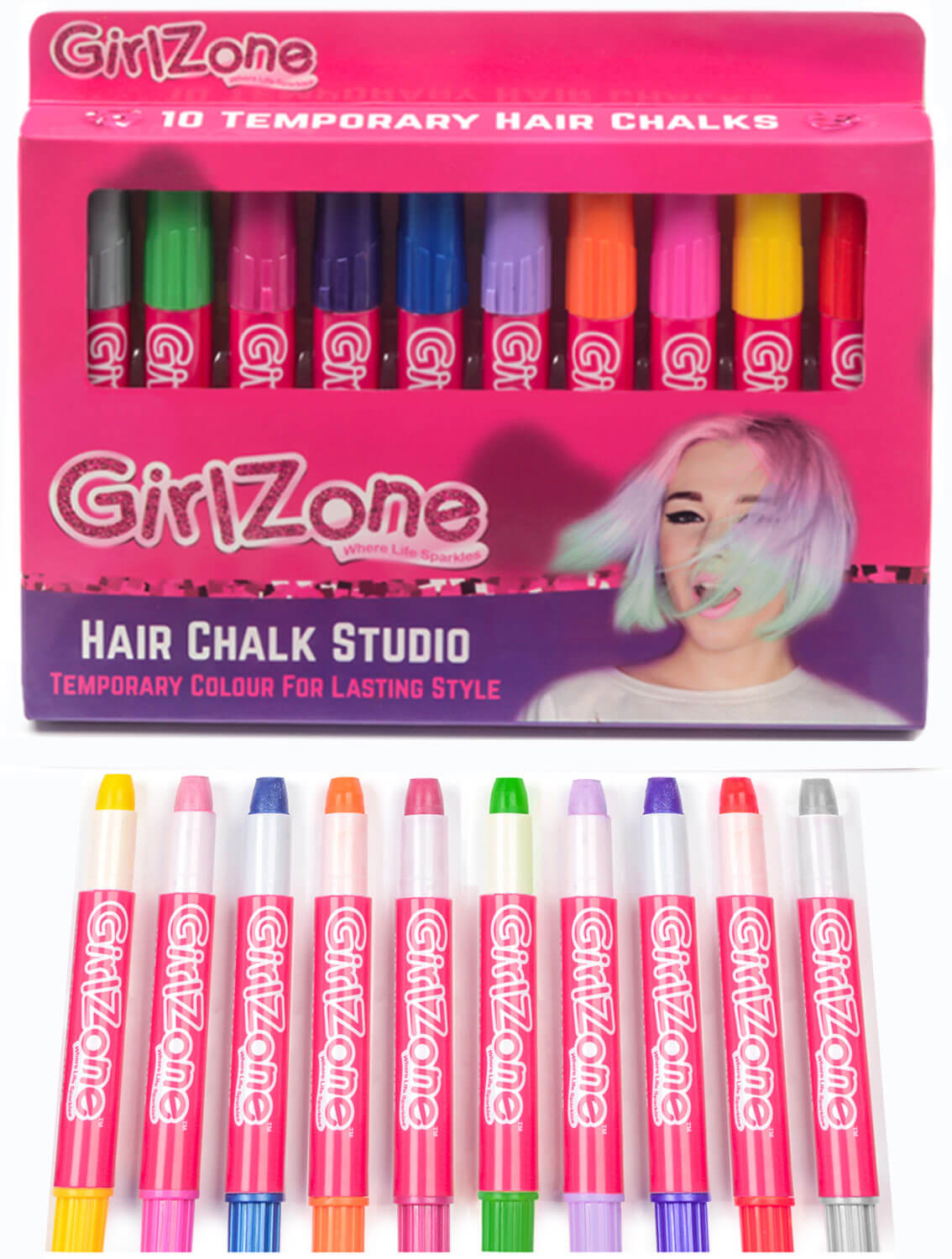 Temporary hair chalk for kids, GirlZone hair chalk