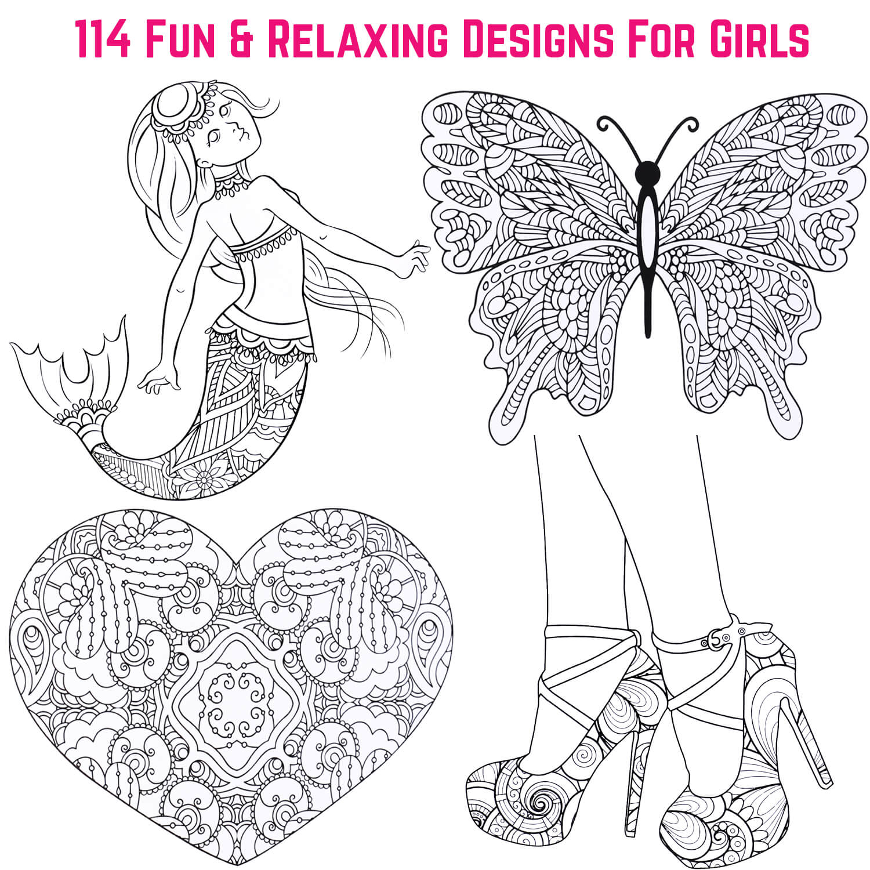 Zen relaxation colouring book for girls - GirlZone UK