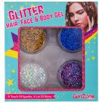 Hair, face and body glitter gels, Sparkle hair gel, Face paint glitter gel