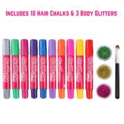 Includes 10 hair chalks & 3 body glitters