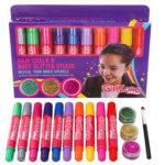 Girls hair chalks and hair and body glitter gel