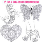 Colouring Book 114 Fun & Relaxing Designs For Girls1 2