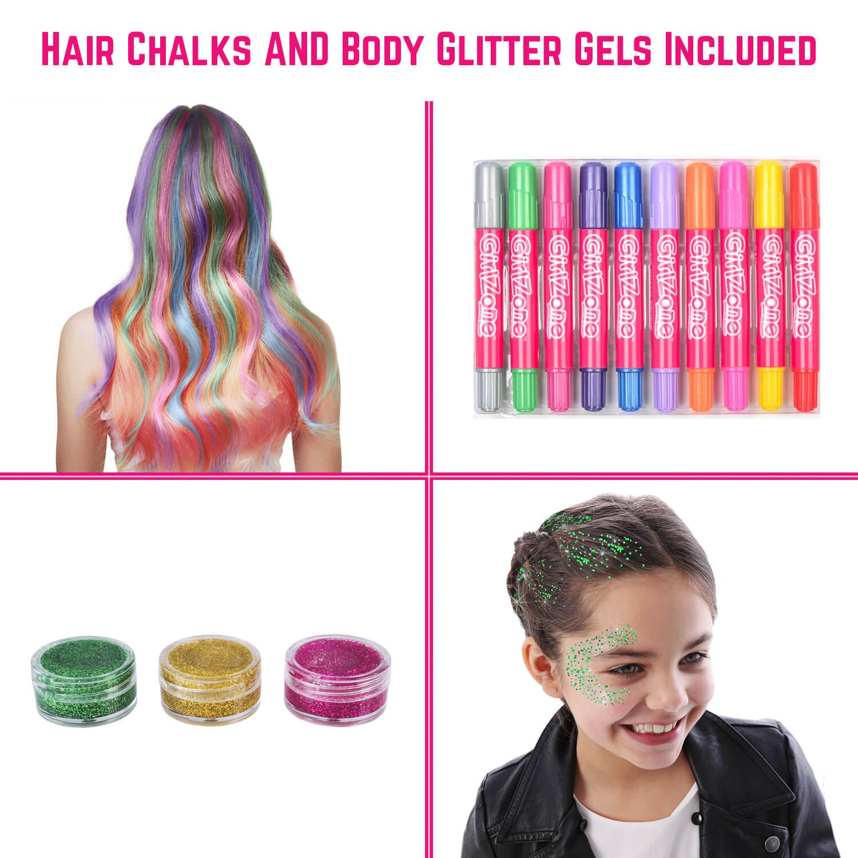 Hair chalks and body glitter gels - GirlZone UK