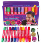 Girls hair chalks and hair and body glitter gel