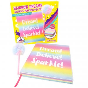 Rainbow Dreams Jotter & Pom Pom Pen Set